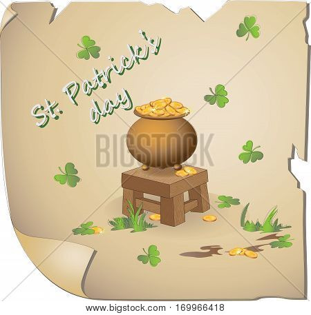 Gold Leprechaun. St. Patrick's Day. St. Patrick's Day. Vector image of the hero national holiday. Cartoon-style.