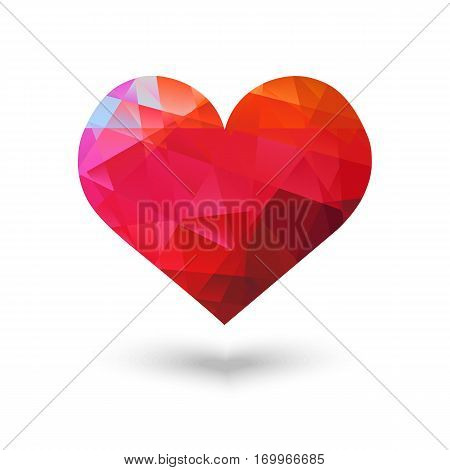 Abstract bright volume red heart made with faceted triangles