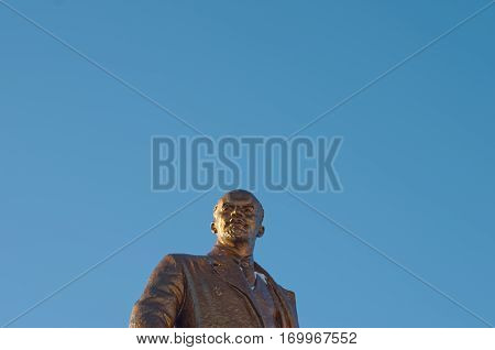 SARANSK, RUSSIA - JANUARY 21, 2017: Bronze monument of Lenin