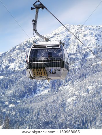 WHISTLER, BC, CANADA - February 7, 2017 : A Gondola on the Excalibur Lift Whistler, BC, Canada February 7 2017
