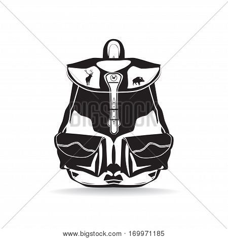 Vector hunter backpack isolated. Black and white flat style design illustration.