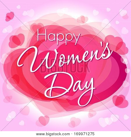 Happy Women's Day lettering greeting on pink hearts background. Happy Women's Day lettering greeting card