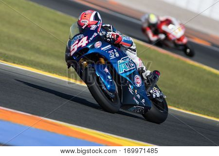 VALENCIA, SPAIN - NOV 11: Pasini during Motogp Grand Prix of the Comunidad Valencia on November 11, 2016 in Valencia, Spain.
