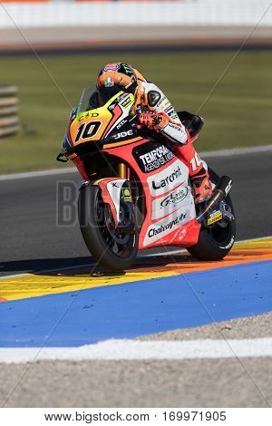 VALENCIA, SPAIN - NOV 11: Luca Marini during Motogp Grand Prix of the Comunidad Valencia on November 11, 2016 in Valencia, Spain.