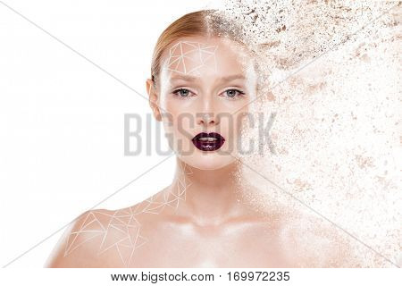 Beauty image of girl with body art. Looking at the camera. Close up. Isolated gray background