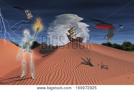 Surreal desert with ancient ship on a sand dune. Gleaming robot with flame in his hand. Lightning in the sky. Businessman in red umbrella.  3D Render  Some elements provided courtesy of NASA