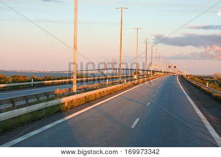 the Oresund Bridge in Malmo in Sweden