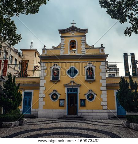 Macao - October 2016: View of square with Chapel of St. Francis Xavier at Coloane Village.