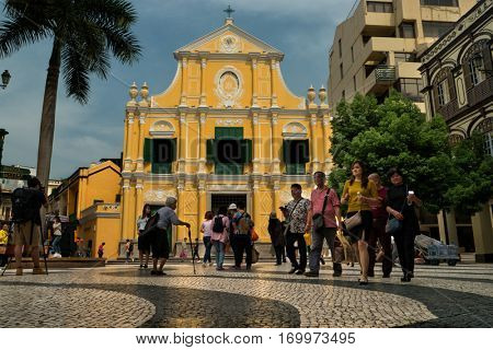 Macao - October 2016: People in front of St. Dominic's Church in sunny day.