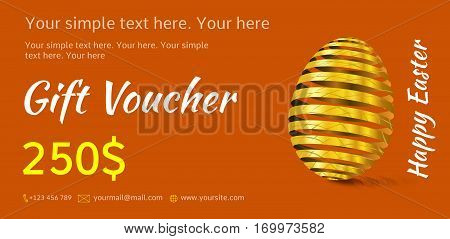 Holiday gift voucher. Easter coupon sales. Flyer orange with golden Easter egg. Attractive discount for 250 dollars. Template A5 width.