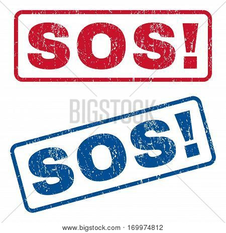 Sos exclamation text rubber seal stamp watermarks. Vector style is blue and red ink caption inside rounded rectangular banner. Grunge design and dirty texture. Blue and red signs.