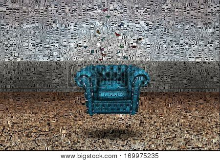 Abstract painting. Couch underwater.   3D Render Image composed entirely of applicable text