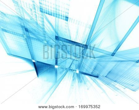 Abstract background element. Three-dimensional composition of curves and grids. Information technology concept. Blue and white colors