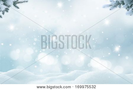Christmas background with fir tree branch.Merry Christmas and happy New Year greeting card with copy-space.Winter landscape with snow.