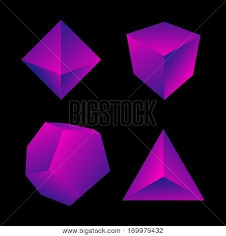 Vector Glossy Platonic Solids Set.