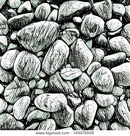 Monochrome illustration of stones on the beach black and white image. Textured surface square image. Grey graphite pencil hatched pebble rocks background for digital paper postcard design or print