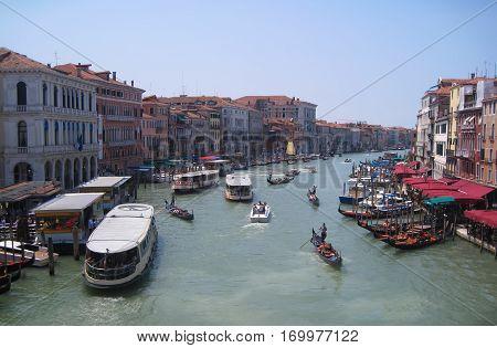 View from Rialto bridge in Venice, Italy.