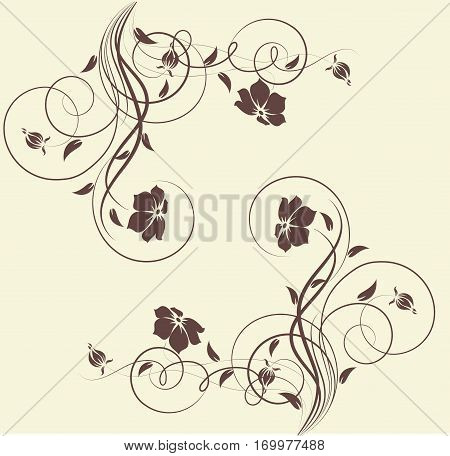 Abstract floral frame for using as a design element