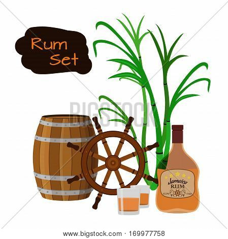 Alcohol drink, rum, glass, barrels, helm and sugarcane. Jamaica rum in flat style design. Vector illustration. Liquor for pubs restaurants hipster bars.