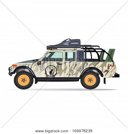 Hunter car vector illustration in flat style. Vehicle for travel and recreation isolated on white background.