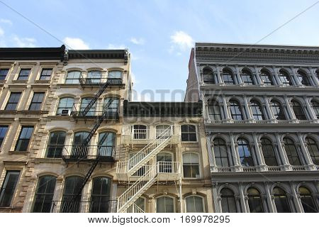 Buildings with fore escape stairs in downtown New York City