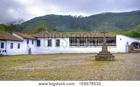Main entrance to an old colonial hostel hacienda, on the outskirts of the city of Ibarra, Ecuador