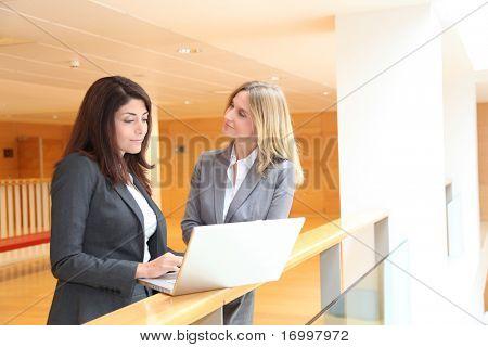 Businesswomen meeting in hall