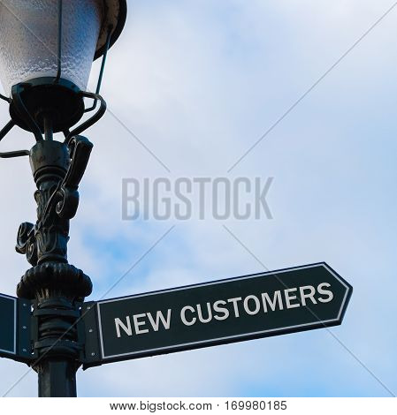 New Customers Directional Sign On Guidepost