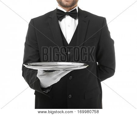 Waiter with metal tray on white background, closeup