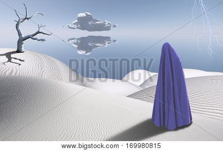 Surreal desert with dried tree. Figure of man in clothes similar to hijab. Lightning in the sky.    3D Render