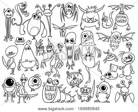 Cartoon illustration of crazy evil monsters or aliens set as vector