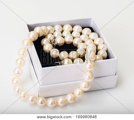 Natural pearl white beads on white. Studio Photo