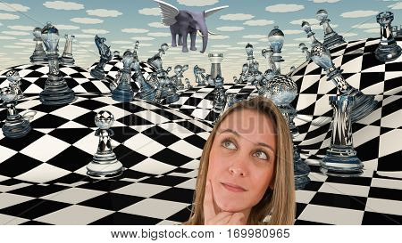 Woman thinks before chessboard.    3D Render
