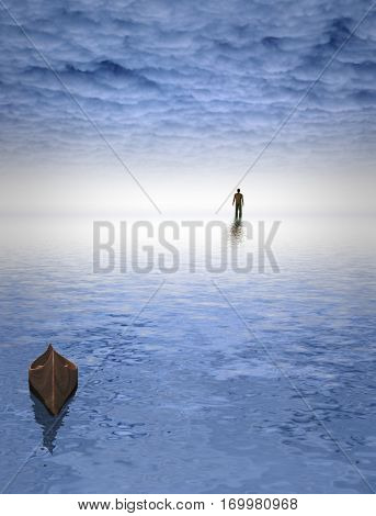Figure of man before bright light. Empty boat.    3D Render