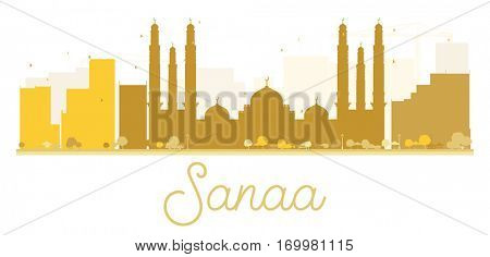 Sanaa City skyline golden silhouette. Vector illustration. Simple flat concept for tourism presentation, banner, placard or web site. Business travel concept. Cityscape with landmarks