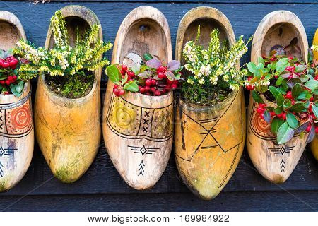 Traditional Dutch Wooden Shoes With Flowers