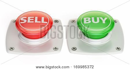 buy and sell push button 3D rendering isolated on white background