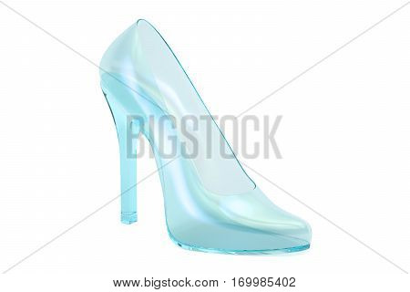 crystal high heel glass slipper. 3D rendering isolated on white background