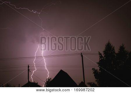 summer shines bright lightning in the sky