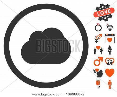 Cloud icon with bonus amour icon set. Vector illustration style is flat iconic elements for web design app user interfaces.