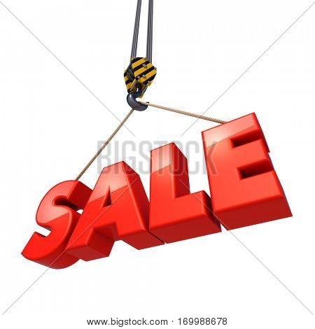 Crane hook lifting big red sale letters isolated on white background. 3D illustration.
