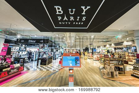 Paris, France - June 2016: in Charles de Gaulle airport duty free shops