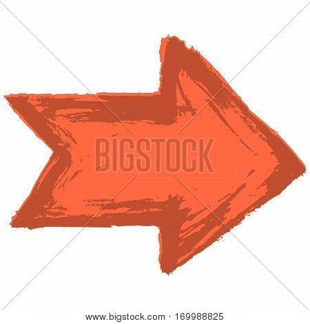 Use it in all your designs. Red arrow sign painted by paint brushstroke. Ink sketch drawing created in handmade technique. Quick and easy recolorable shape. Vector illustration a graphic element