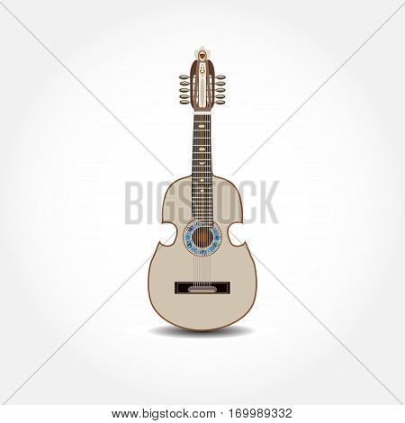 Vector illustration of cuatro isolated on white background. Latin American guitar string musical instrument in flat style.
