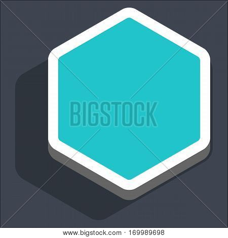 Use it in all your designs. Flat web internet hexagon button with dark shadow in 3D style. Hover variant. Quick and easy recolorable shape. Vector illustration a graphic element