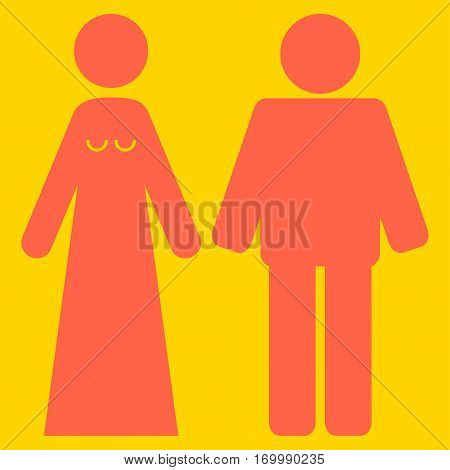 Married Groom And Bribe vector icon symbol. Flat pictogram designed with tomato red and isolated on a yellow background.