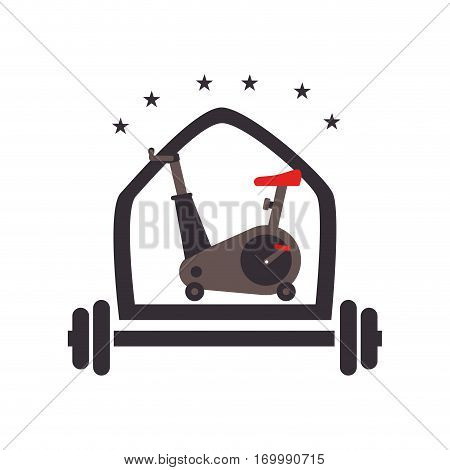 color silhouette with shield with weighlifting bar and spinning bike and arc with stars