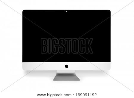 UKRAINE, RIVNE, NOVEMBER 2, 2016. Apple Computer iMac 27 retina display 5K keyboard and magic mouse isolated on a white background