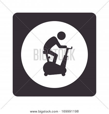 monochrome pictogram with square with circle inside with man in spinning bike vector illustration