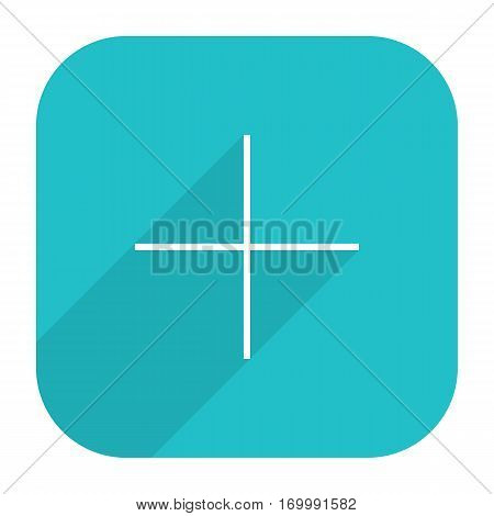 Use it in all your designs. Web button adding followers. Social network web icon with plus sign and long shadow. Rounded square shape in simple flat style. Vector illustration a graphic element
